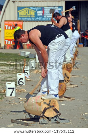 CHRISTCHURCH, NEW ZEALAND - NOVEMBER 16: Competitor in the Underhand  Wood Chopping event at the 2012 Canterbury A&P Show on November 16, 2012 in Christchurch. - stock photo