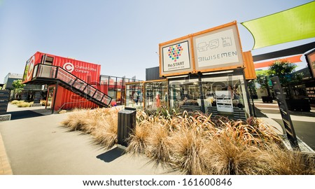 CHRISTCHURCH, NEW ZEALAND - NOVEMBER 02: Re:START Zone - A shipping container shopping area, opened as the first major earthquake reconstruction step in 2011 November 02, 2013 in Christchurch. - stock photo