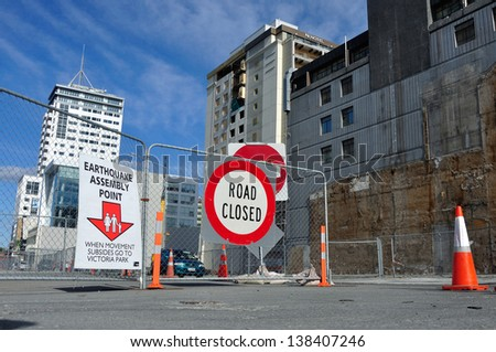 CHRISTCHURCH, NEW ZEALAND, NOVEMBER 16: Signage directs people to an earthquake assembly point  in Christchurch, New Zealand on 16-11-2012. - stock photo