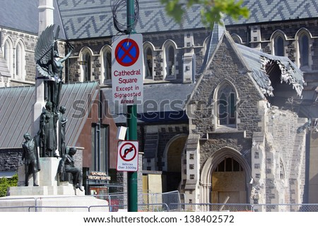 CHRISTCHURCH, NEW ZEALAND, NOVEMBER 16 - The iconic Anglican Cathedral remains a ruin in Christchurch, New Zealand on 16-11-2012. 182 people died in the 6.4 earthquake the previous year. - stock photo
