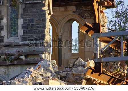CHRISTCHURCH, NEW ZEALAND, NOVEMBER 16 - The iconic Anglican Cathedral remains a ruin in Christchurch, New Zealand, 16-11-2012 . Debate still rages over the fate of the condemned building. - stock photo