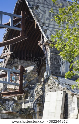 CHRISTCHURCH, NEW ZEALAND, NOVEMBER 08 - The iconic Anglican Cathedral remains a ruin in Christchurch, New Zealand, 08-11-2014. Debate still rages over the fate of the condemned building.