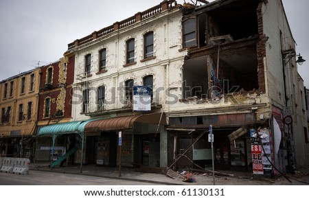 CHRISTCHURCH, NEW ZEALAND - SEPT 9: Widespread damage is caused by a 7.1 magnitude earthquake that struck on 4 September. Strong aftershocks continue. 9 September 2010 in Christchurch, New Zealand. - stock photo