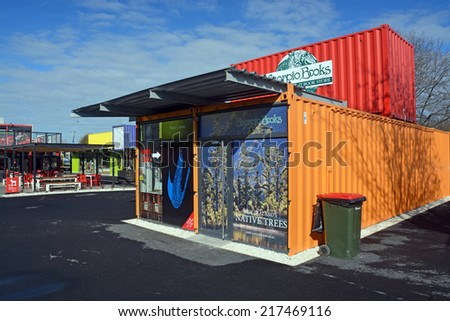 Christchurch, New Zealand - September 13, 2014: 2014: Scorpio Books Restart Container Shop has been relocated to the Western End of Cashel Street Mall. - stock photo