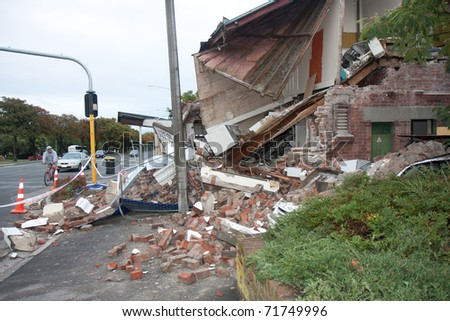 CHRISTCHURCH, NZ - FEB 22: destruction caused by earthquake on February  22, 2011 in Christchurch, New Zealand. The 6.3 earthquake hit at 12.53pm