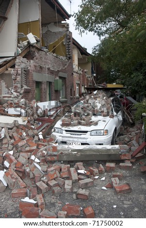 CHRISTCHURCH, NZ - FEB 22: destruction caused by earthquake on February  22, 2011 in Christchurch, New Zealand. The 6.3 earthquake hit at 12.53pm - stock photo