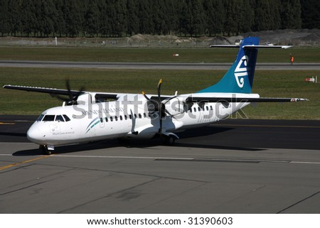 CHRISTCHURCH, NZ - MARCH 18: Air New Zealand ATR 72 turboprop aircraft taxiing at Christchurch International Airport on March 18, 2009. Air NZ latest ad campaign features company's employees in nude.