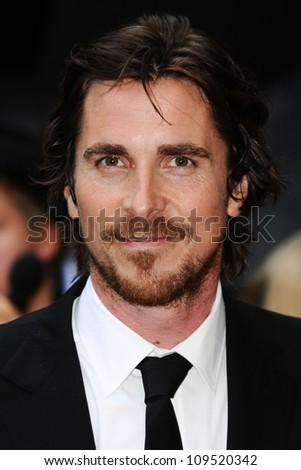 """Christian Bale arriving for European premiere of """"The Dark Knight Rises"""" at the Odeon Leicester Square, London. 18/07/2012 Picture by: Steve Vas / Featureflash - stock photo"""