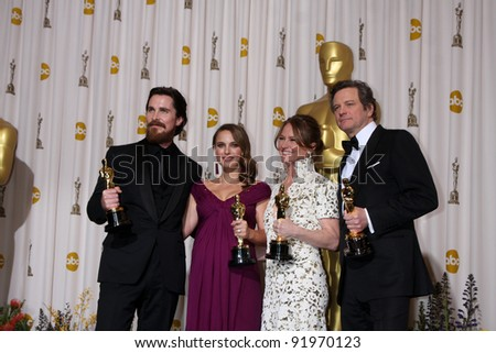 Christian Bale, Natalie Portman, Melissa Leo, Colin Firth at the 83rd Annual Academy Awards Press Room, Kodak Theater, Hollywood, CA. 02-27-11