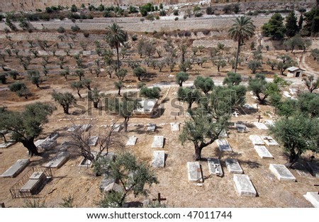 Christian cemetery on the Mount of Olives, in Jerusalem - stock photo