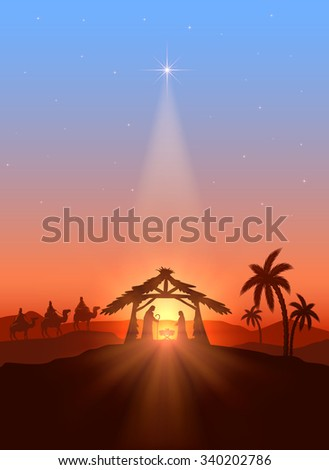 Christian Christmas background with shining star, birth of Jesus, illustration. - stock photo