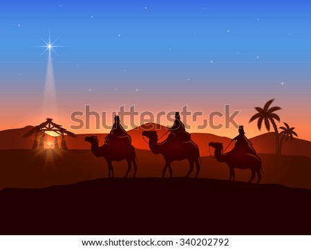 Christian Christmas background with three wise men and shining star, birth of Jesus, illustration. - stock photo