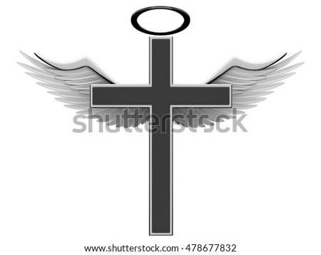 Christian cross and angel wings on a white background. 3D rendering