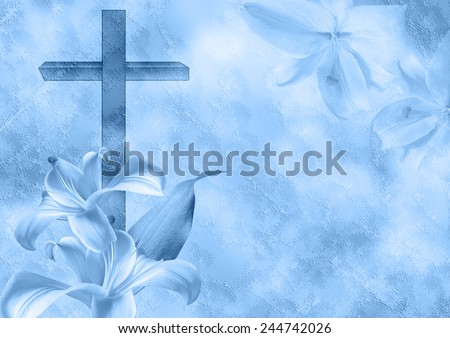 Christian cross and lily flower on blue background - stock photo
