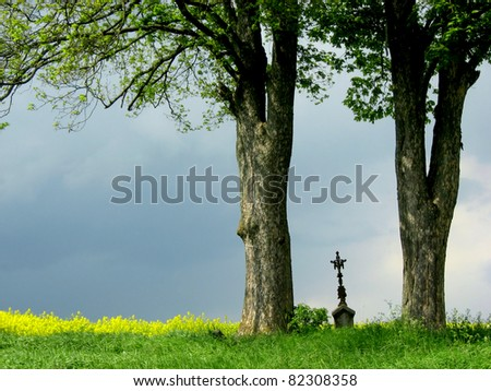 Christian cross between two trees - stock photo