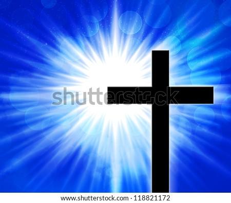 Christian Cross Blue Background - stock photo