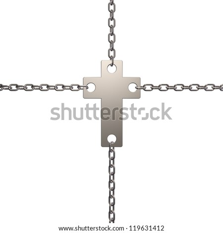 christian cross in chains - 3d illustration - stock photo