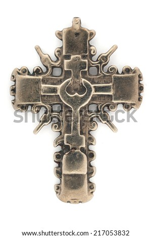 Christian Cross isolated on the white background, 18th Century - stock photo