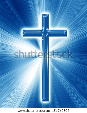 christian cross on a soft blue background - stock photo