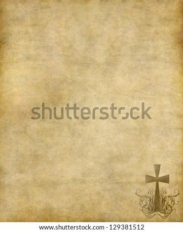 christian cross on old paper or parchment background texture - stock photo