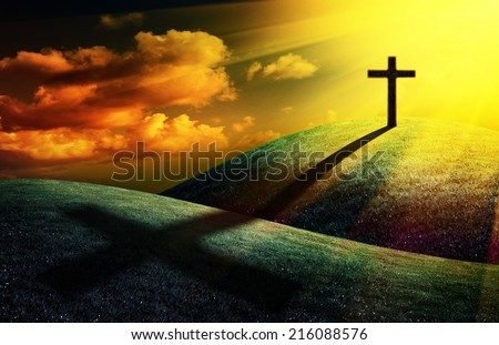 christian cross on sunset background for your design - stock photo