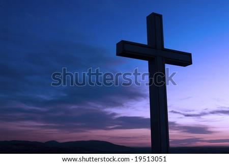 Christian cross silhouette - stock photo