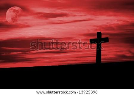 christian cross silhouette faith symbol - stock photo