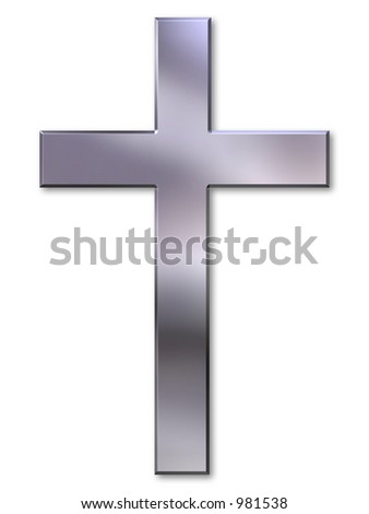 Christian cross with silver bevel on white background - stock photo