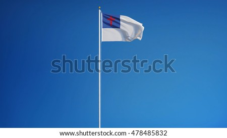 Christian flag waving against clean blue sky, long shot, isolated with clipping path mask alpha channel transparency
