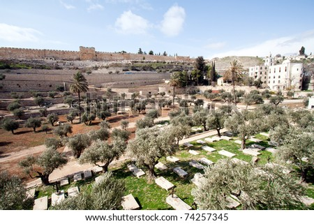 Christian graves at the Mount of Olives in Jerusalem - Israel - stock photo