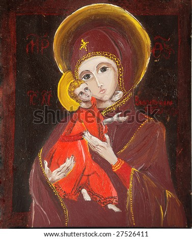 Christian Icon - Holy mother and baby Jesus - stock photo
