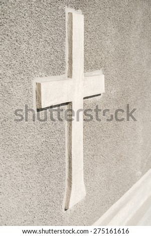 Christian Orthodox Cross Sign On Concrete Wall - stock photo