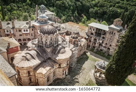 Christian Orthodox Monastery Hilandar. Holy Mount of Athos, Chalkidiki, Greece - republic of monks - stock photo