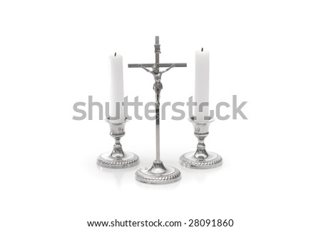 christian rood with candle isolated on white - stock photo