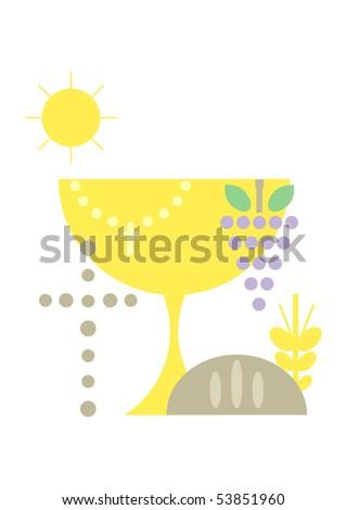 Christian symbols including cross, chalice, rosary, grapes (vine), sun (light), corn and bread - stock photo