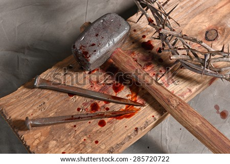 Christian symbols of the crucifixion of Jesus - stock photo