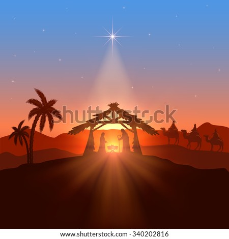 Christian theme with Christmas star, birth of Jesus, illustration. - stock photo