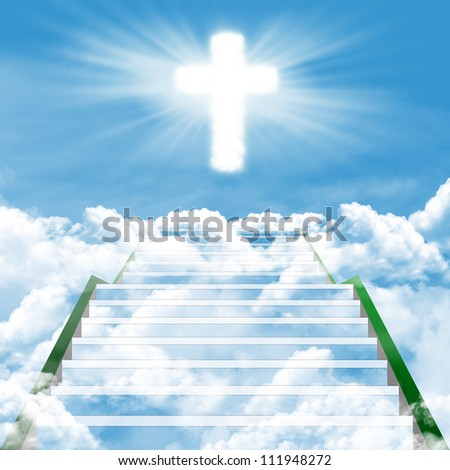Christianity concept: Stairway or path going up to God - stock photo