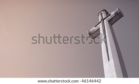 Christianity cross and sky background