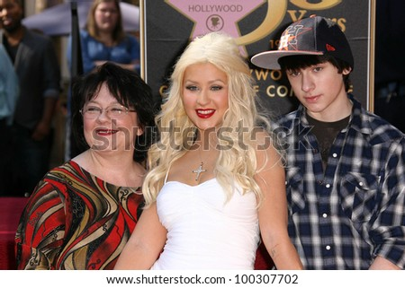 Christina Aguilera with Mother and Brother  at Christina Aguilera's induction into the Hollywood Walk of Fame, Hollywood Blvd, Hollywood, CA. 11-15-10 - stock photo