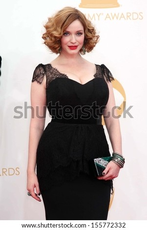 Christina Hendricks at the 65th Annual Primetime Emmy Awards Arrivals, Nokia Theater, Los Angeles, CA 09-22-13 - stock photo