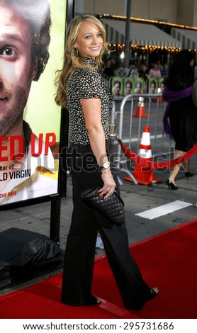 """Christine Taylor attends Los Angeles Premiere of """"Knocked Up"""" held at the Mann Village Theatre in Westwood, California, on May 21, 2007.   - stock photo"""