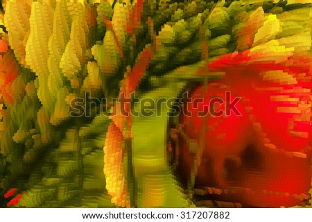 Christmas abstract background in the style of a computer game with blocks              - stock photo