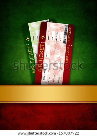 christmas airline boarding pass ticket in dark pocket - stock photo