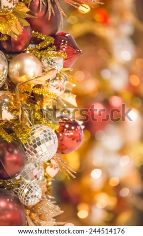 Christmas and new year  Background Made of a Red Ball and Beautiful Bokeh - stock photo