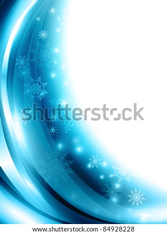 Christmas and New year background with snowflakes and copyspace