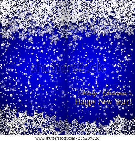 Christmas and New Year blue folded  greeting or invitation  with snowflakes - stock photo