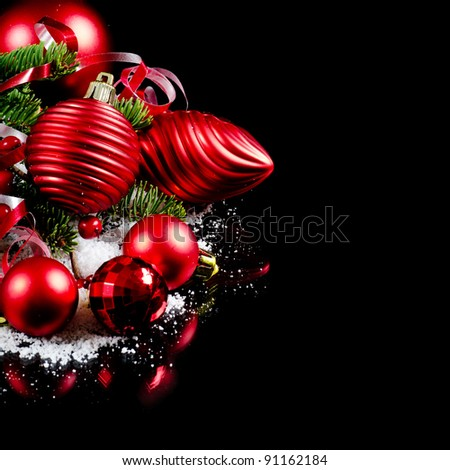 Christmas and New Year Border - stock photo