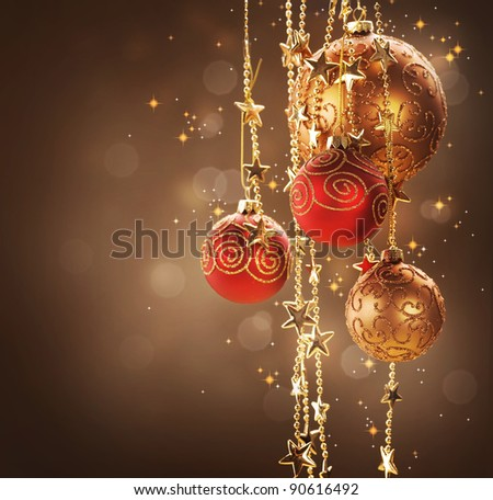 Christmas and New Year border Design - stock photo