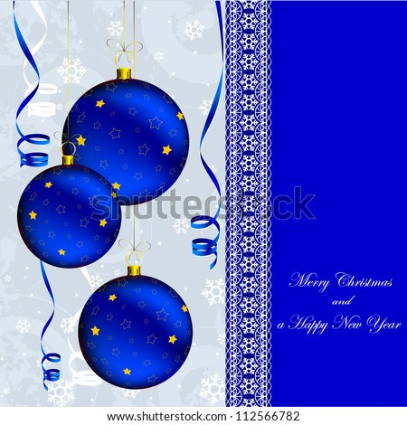 christmas and new year card with blue ball decor on snowflakes background